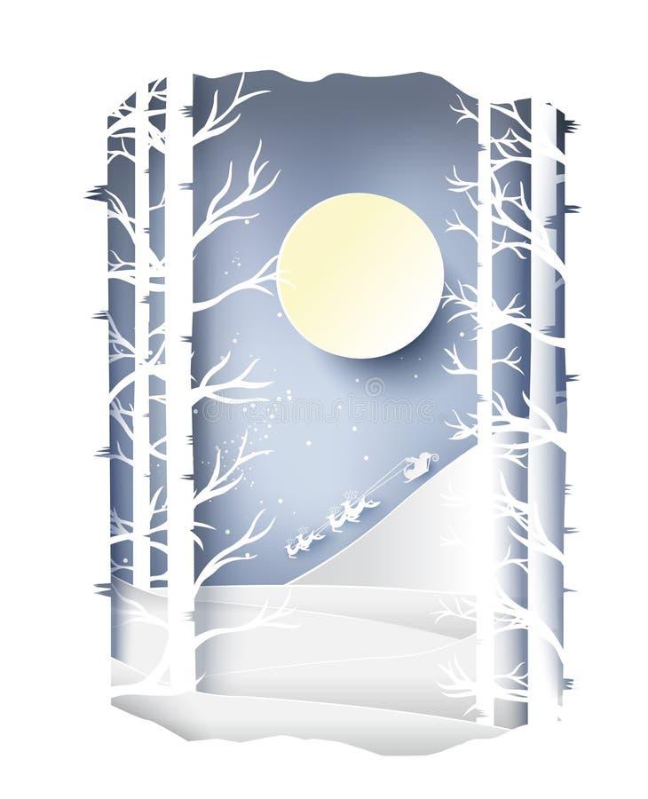 Papierkunstlandschaft von Weihnachten und guten Rutsch ins Neue Jahr mit Baum und Haus entwerfen Vektor vektor abbildung