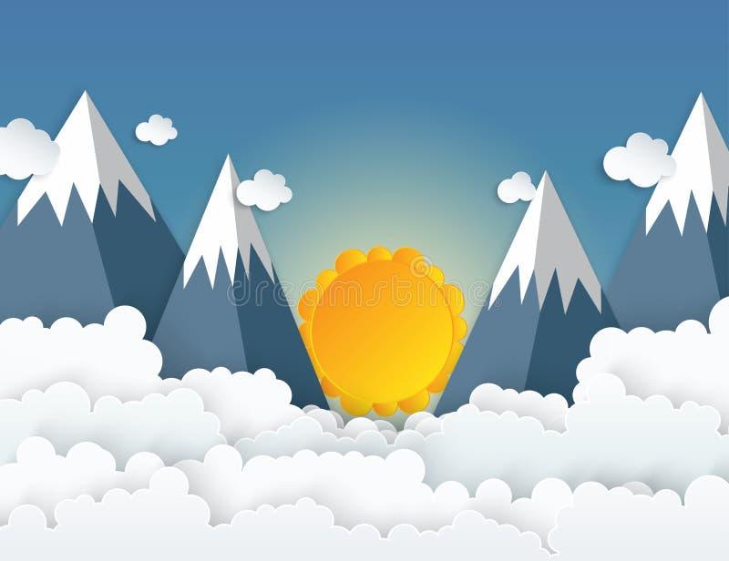Papierkunstorigamiberge mit Schnee, weiße Wolken stock abbildung