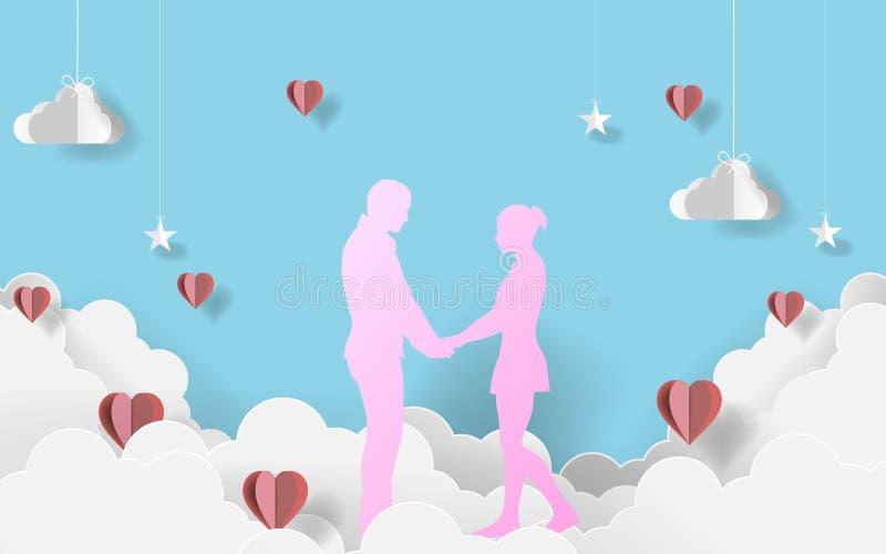 Papierkunstpaare auf Wolken Glücklicher Valentinsgruß `s Tag Kraftpapier-Design Auch im corel abgehobenen Betrag ENV 10 vektor abbildung