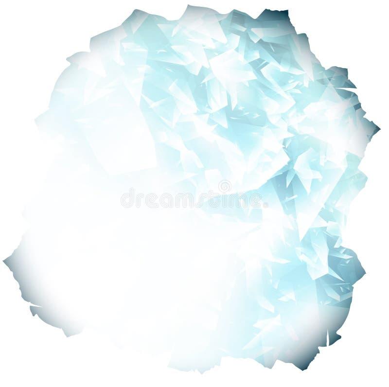 Papierloch mit Glas- oder blauem Eishintergrund stock abbildung