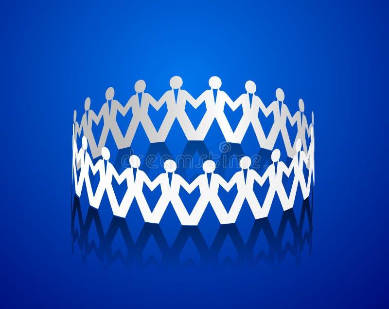 Papiermannhändchenhalten in Form eines Kreises stock abbildung