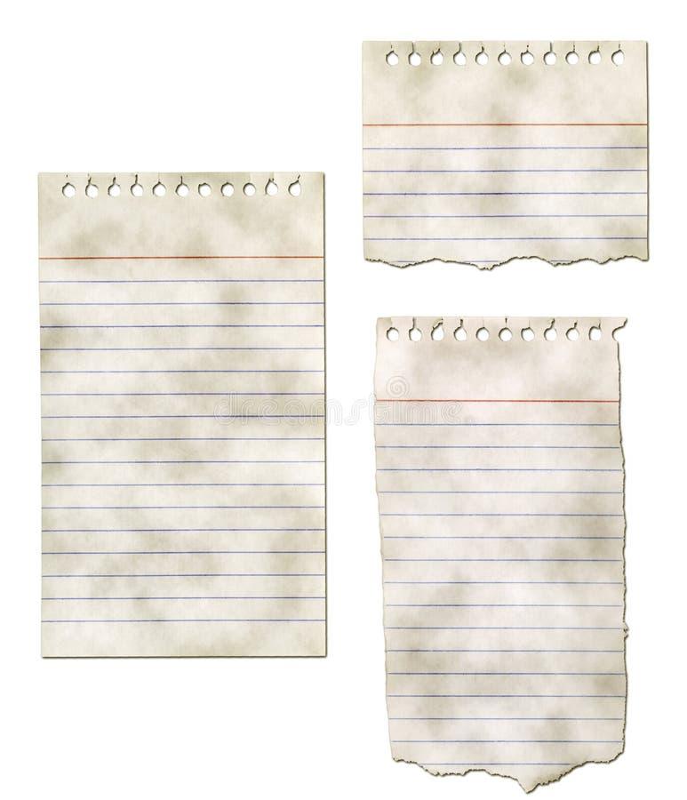 Papiernotizblock-Ansammlung - zerrissen und schmutzig lizenzfreie stockfotos