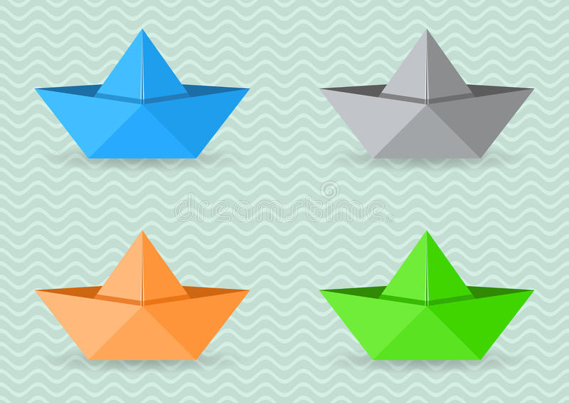 Papierorigami Boote stock abbildung