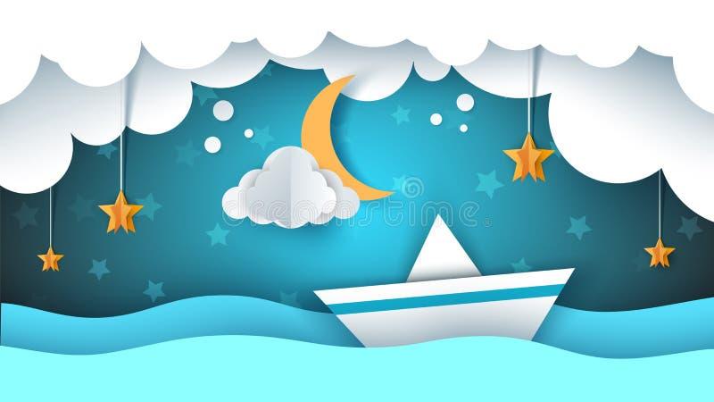 Papierorigamiillustration Schiff, Wolke, Stern, Mond lizenzfreie abbildung