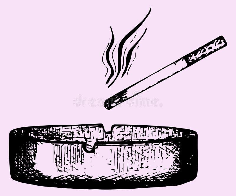 Papieros w ashtray ilustracja wektor