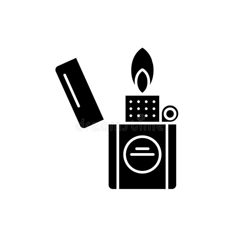 Papierosowa zapalniczki czerni ikona, wektoru znak na odosobnionym tle Papierosowy zapalniczki pojęcia symbol, ilustracja ilustracja wektor