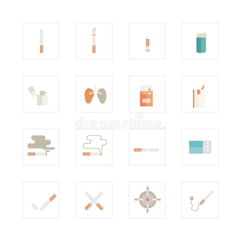 Papierosowe ikony ustawiać ilustracja wektor
