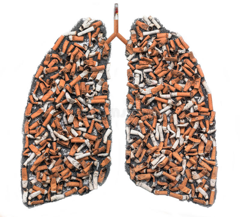 Papierosowi krupony w płucnym konturze obraz stock