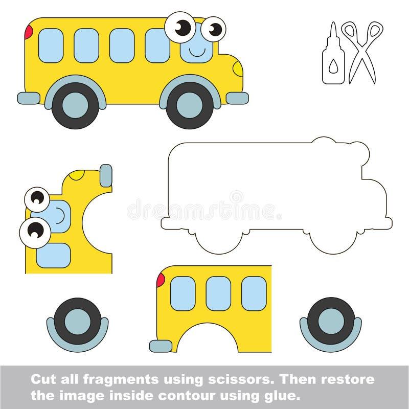 Papierowa dzieciak gra Łatwy zastosowanie dla dzieciaków z autobusem ilustracji