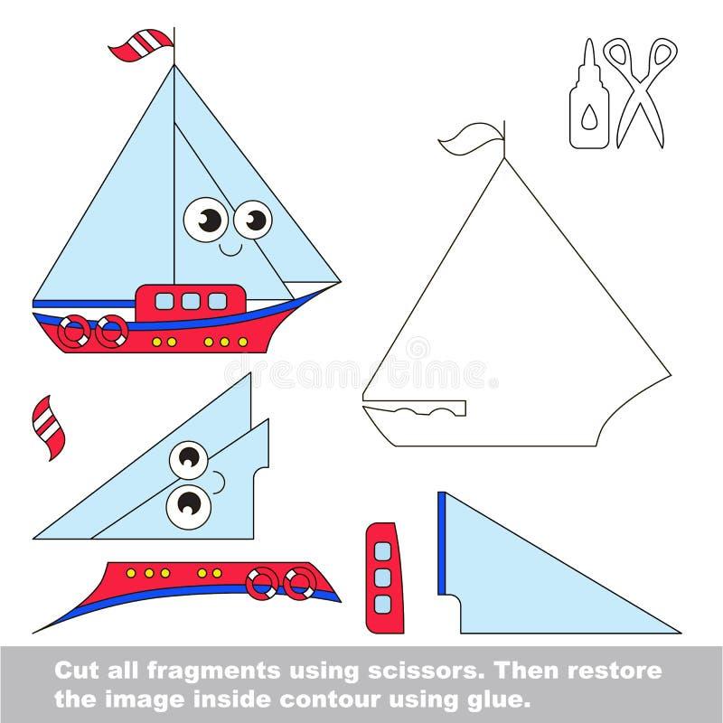 Papierowa dzieciak gra Łatwy zastosowanie dla dzieciaków z jachtem ilustracja wektor