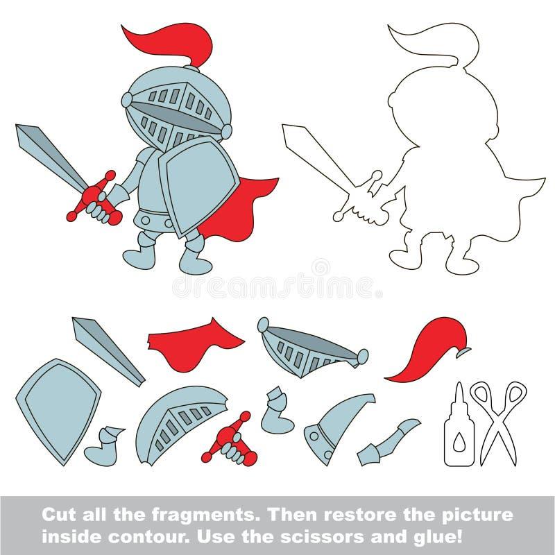 Papierowa dzieciak gra Łatwy zastosowanie dla dzieciaków z Zabawkarskim rycerzem ilustracji