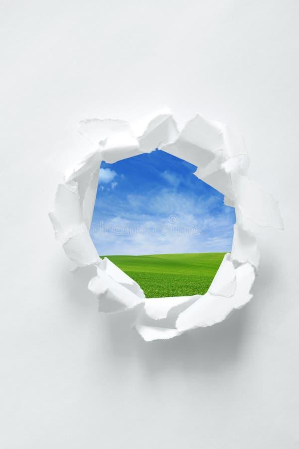 Papierowa dziura z natury tłem zdjęcia royalty free