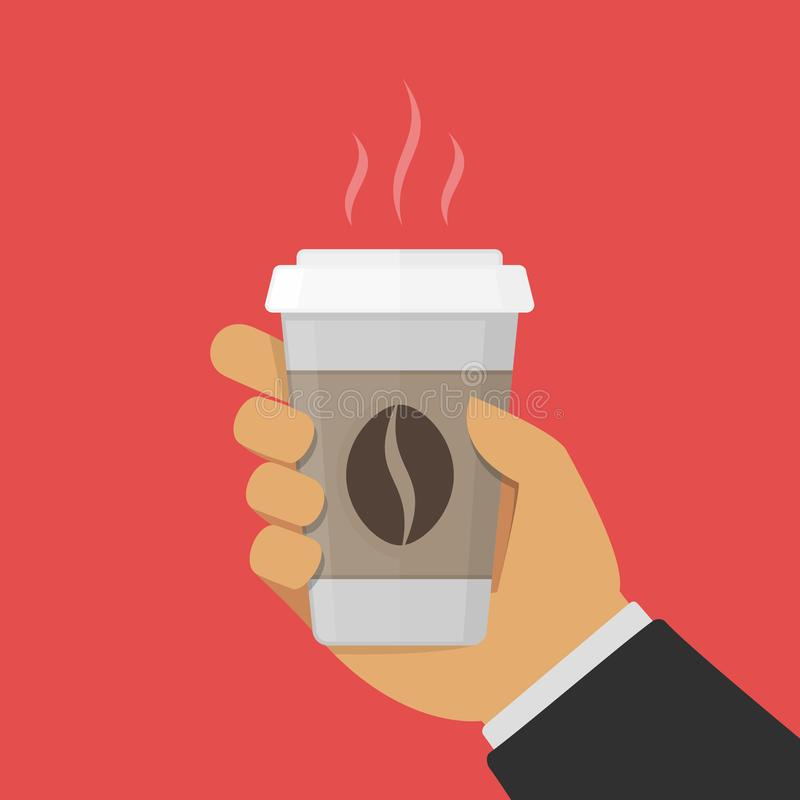 Papierowa filiżanka kawy w ręce ilustracja wektor