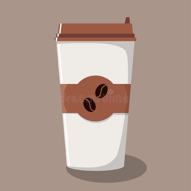 Papierowa filiżanka z deklem i emblemat z kawowymi fasolami Oddalona kawa kawa idzie Wektorowa ilustracja w mieszkanie stylu royalty ilustracja