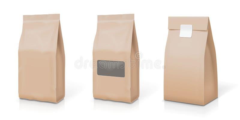 Papierowa folia dla jedzenia stoi up przekąski saszetki torbę pakuje set royalty ilustracja