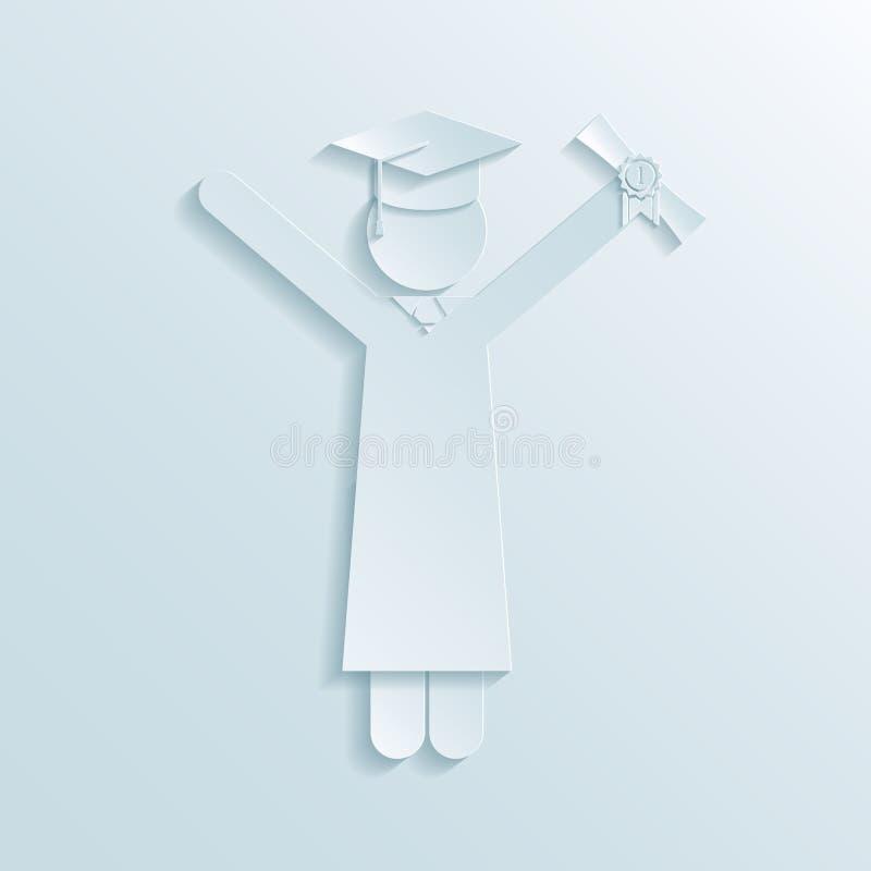Papierowa ikona absolwent royalty ilustracja