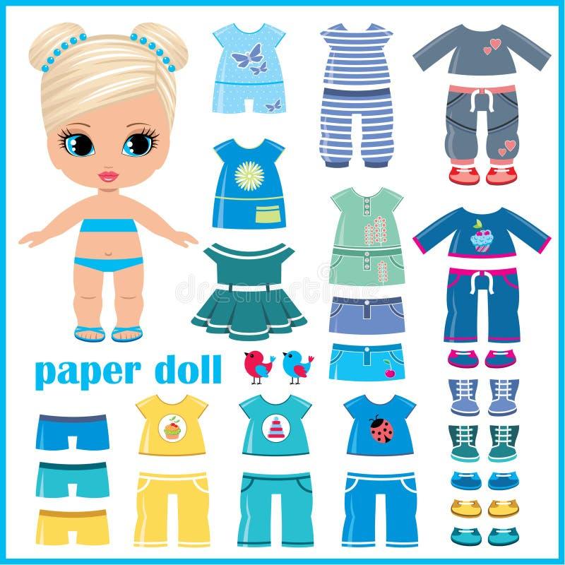 Papierowa lala z ubraniami ustawiającymi ilustracja wektor