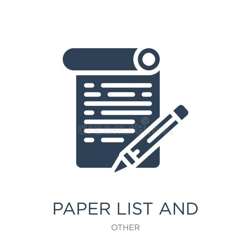 papierowa lista i ołówkowa ikona w modnym projekcie projektujemy Papierowa lista i ołówkowa ikona odizolowywająca na białym tle p ilustracja wektor