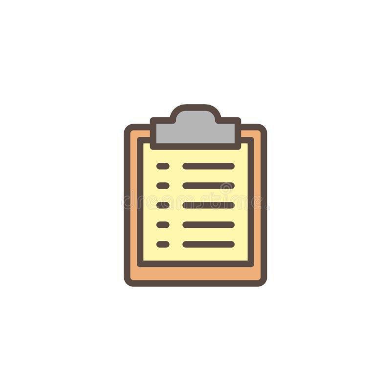 Papierowa lista wypełniająca schowka konturu ikona ilustracja wektor
