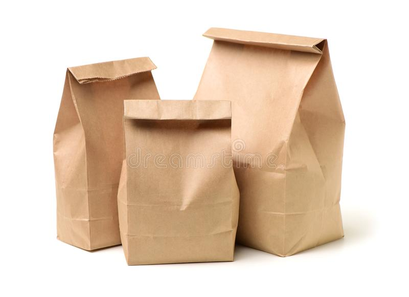 Papierowa lunch torba fotografia stock