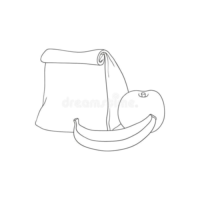 Papierowa lunch torba, jabłko z bananem dla przerwy w nakreślenie stylu odizolowywającym na białym tle szkoły lub pracy i royalty ilustracja