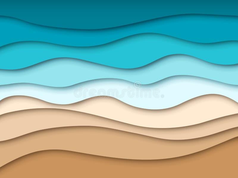 Papierowa morze plaża Abstrakcjonistyczny oceanu lata podróży krajobraz, lata 3d papieru rżnięta tekstura Origami wycinanki piask royalty ilustracja