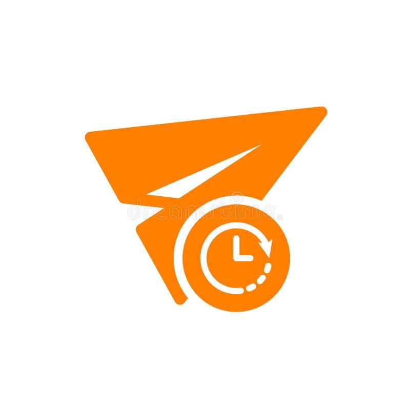 Papierowa płaska ikona, inna ikona z zegaru znakiem Papierowa płaska ikona i odliczanie, ostateczny termin, rozkład, planistyczny royalty ilustracja