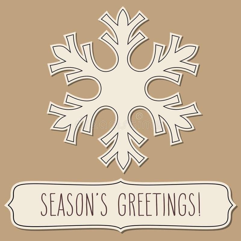 Papierowa płatek śniegu rama i sezonów powitania royalty ilustracja