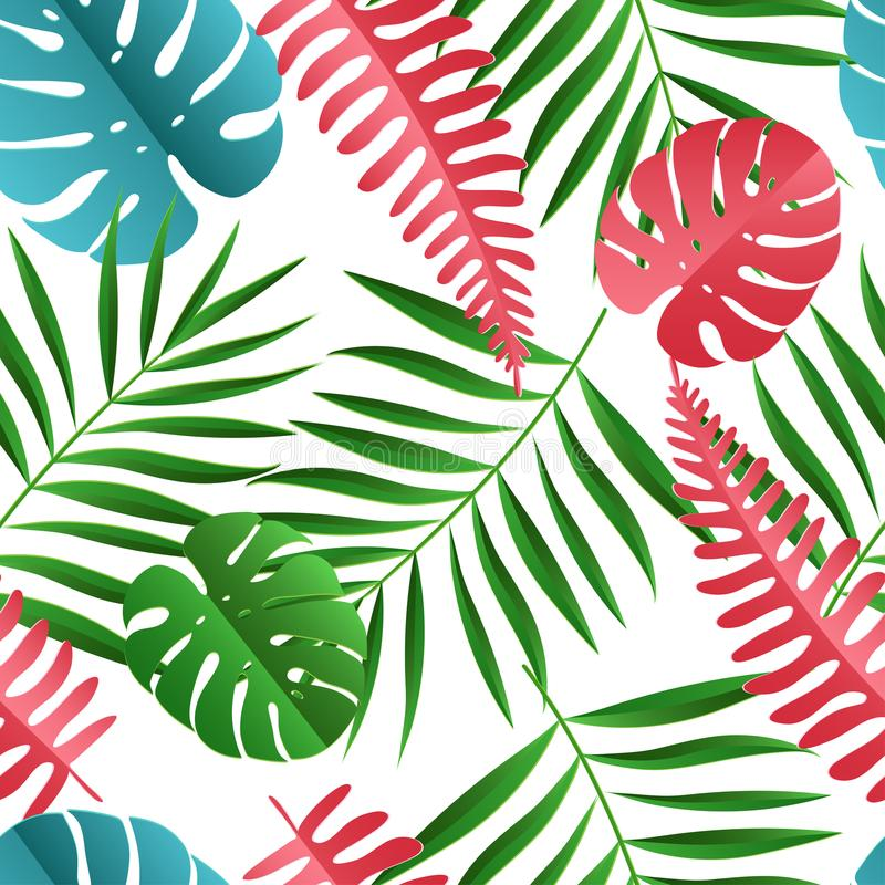 Papierowa palma, monstera opuszcza bezszwowego wzór Lato tropikalny ilustracja wektor