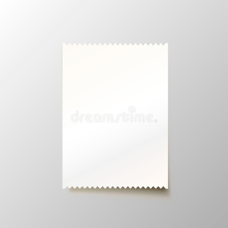 Papierowa pusta kratka na białym tle ilustracja wektor