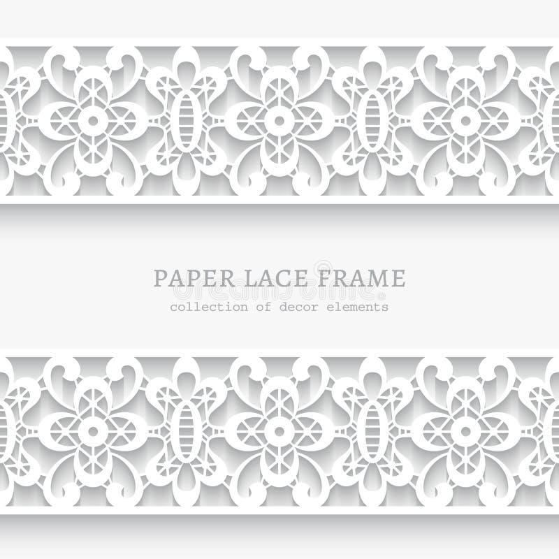 Papierowa rama z koronkowymi granicami ilustracja wektor