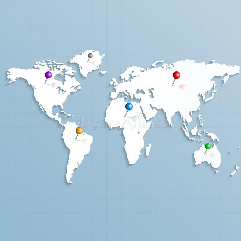 Papierowa strategiczna mapa świat z kolorowymi szpilkami ilustracja wektor