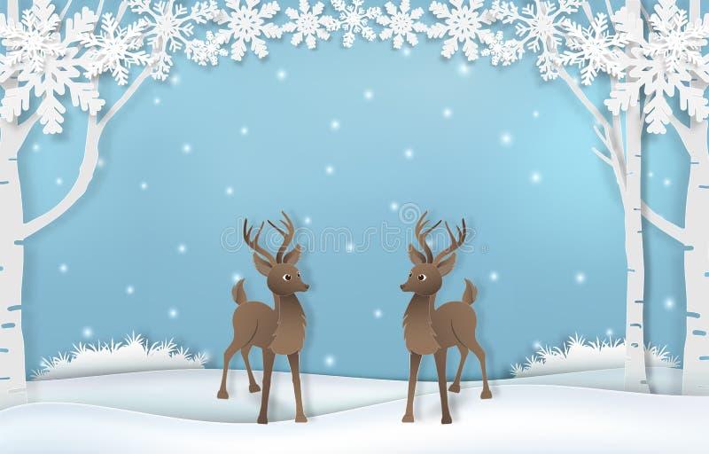 Papierowa sztuka śliczny renifer z śniegu i płatek śniegu tła ilustracją ilustracji