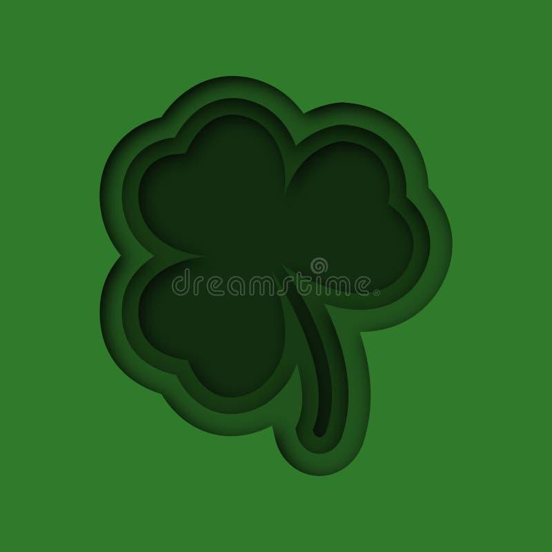 Papierowa sztuka cloverleaf 3d ilustracyjny cloverleaf na St Patricks dniu również zwrócić corel ilustracji wektora ilustracji
