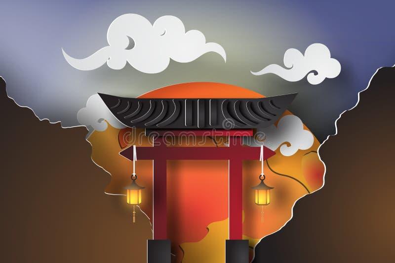 Papierowa sztuka Japonia brama z krajobrazową podróżą ilustracji