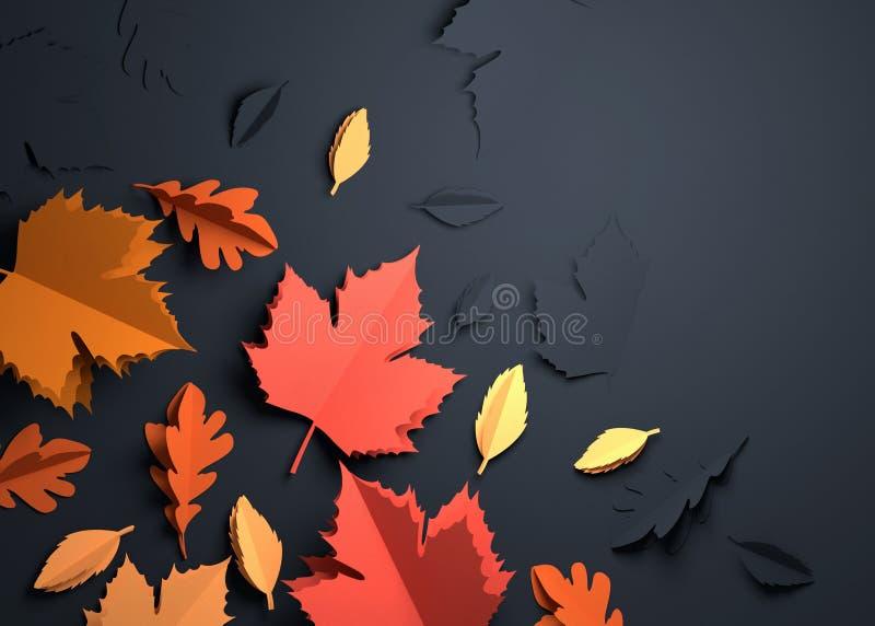 Papierowa sztuka - jesień spadku liście ilustracji