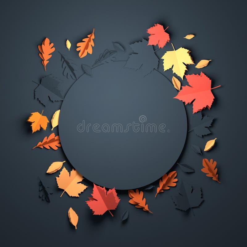 Papierowa sztuka - jesieni tło ilustracji