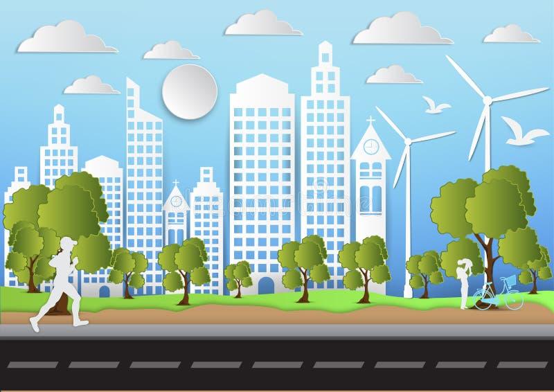 Papierowa sztuka miasto i park na zielonym tle z mężczyzna biega ekologia pomysł, wektorowa ilustracja ilustracja wektor