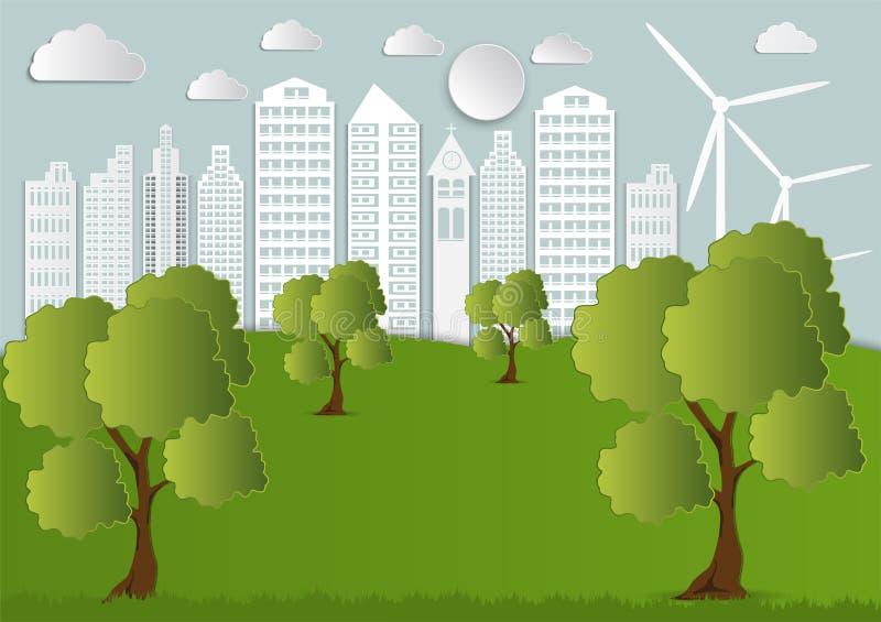 Papierowa sztuka miasto z drzewami i chmurami Ekologii Origami pojęcie ilustracji