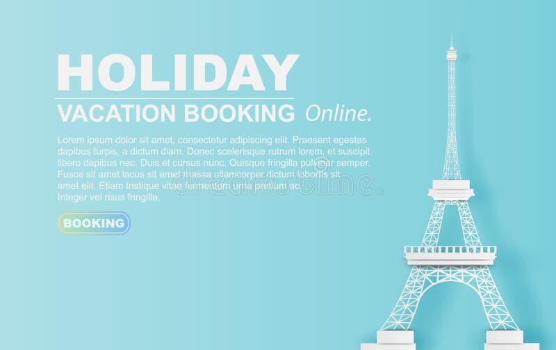 Papierowa sztuka podróż w wakacyjnym hotelowej rezerwacji wieży eiflej Paryż mieście strona internetowa pastelowego koloru pojęci royalty ilustracja