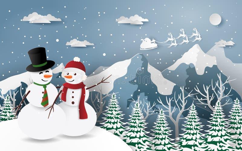 Papierowa sztuka, rzemiosła bałwan styl patrzeje Święty Mikołaj w śnieżnej górze ilustracja wektor
