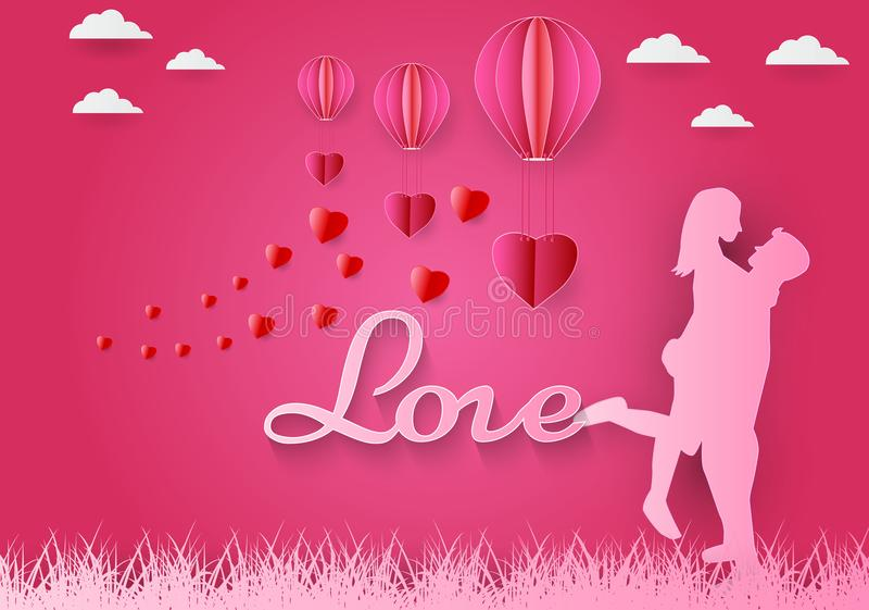 Papierowa sztuka serce z różowym tłem, ` s dnia pojęcie, wektorowa sztuka i ilustracja miłości i czerwieni, origami i valentine, ilustracji