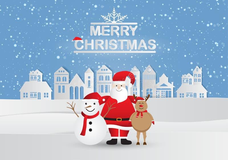 Papierowa sztuka szczęśliwego Świętego Mikołaja z bałwanem i reniferami w lesie śniegowym z tekstem MERRY CHRISTMAS Ilustracja we royalty ilustracja