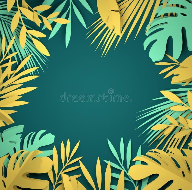 Papierowa sztuka - Tropikalni palma liście ilustracja wektor
