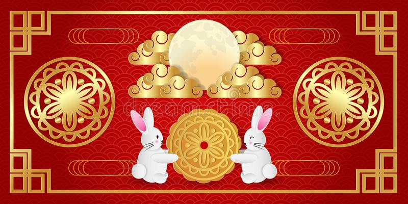 Papierowa sztuka w połowie jesień festiwalu kartka z pozdrowieniami z ślicznym królikiem, księżyc tortem i księżyc w pełni na cze zdjęcia royalty free