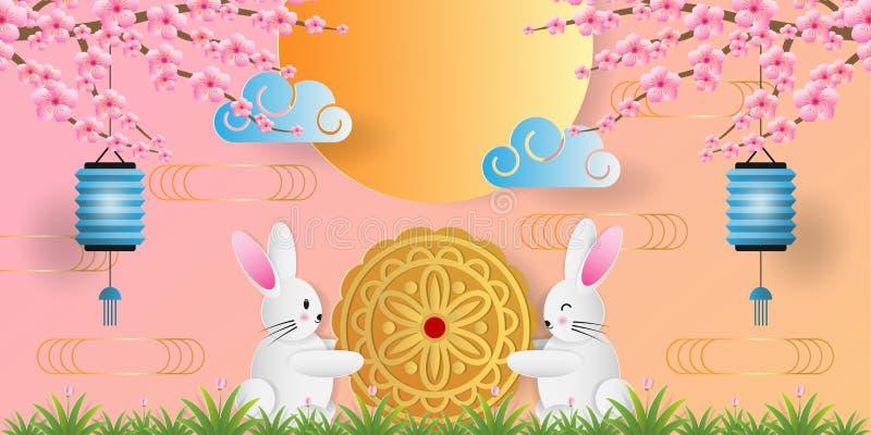 Papierowa sztuka w połowie jesień festiwalu kartka z pozdrowieniami, sztandar z ślicznym królikiem, mooncake, żarówka i czereśnio ilustracja wektor