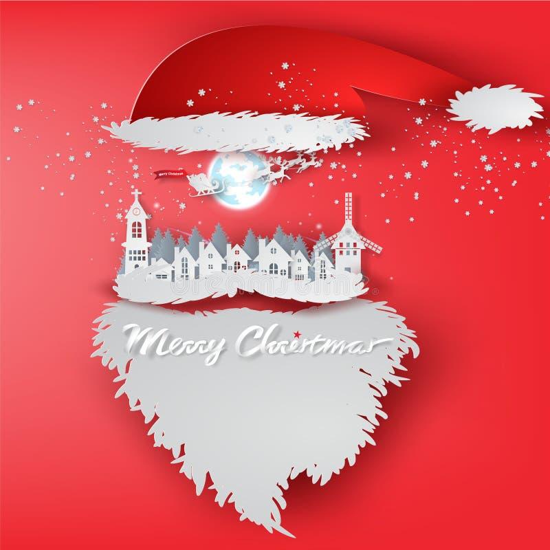 Papierowa sztuka Wesoło święto bożęgo narodzenia z Święty Mikołaj pojęcia kapeluszowymi półdupkami royalty ilustracja