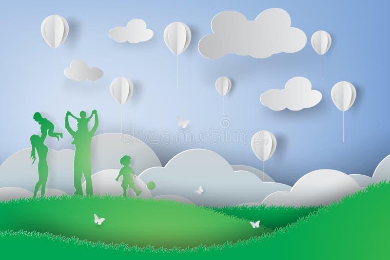 Papierowa sztuka Zielona szczęśliwa rodzina ma zabawy bawić się royalty ilustracja