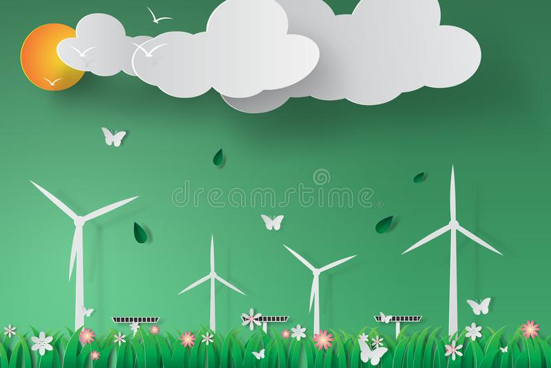 Papierowa sztuka Zielony silnik wiatrowy energii słonecznej panelu świat Environ ilustracja wektor