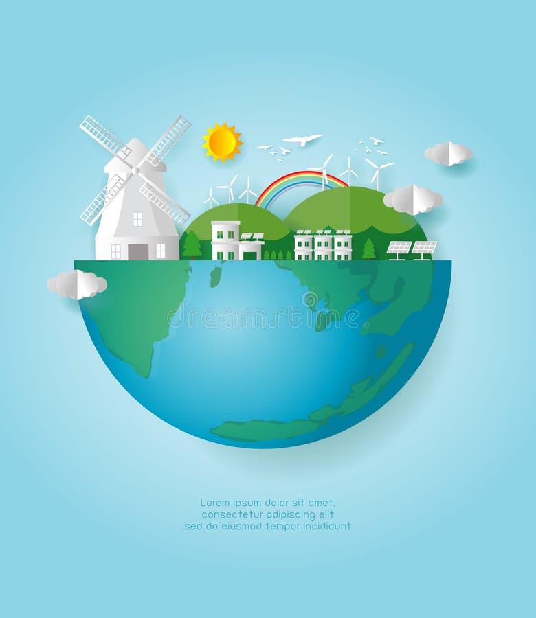 Papierowa sztuka Ziemski dzień oprócz światu oprócz planety, przetwarza, Eco życzliwy, ekologii pojęcie, tapetuje cięcie styloweg royalty ilustracja
